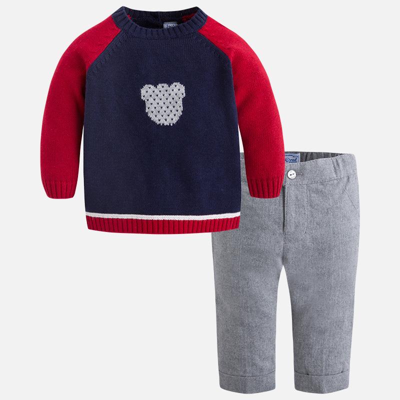 700b11848f371 Conjunto de bebé niño con jersey y pantalón largo M.2535 Azul Mayoral