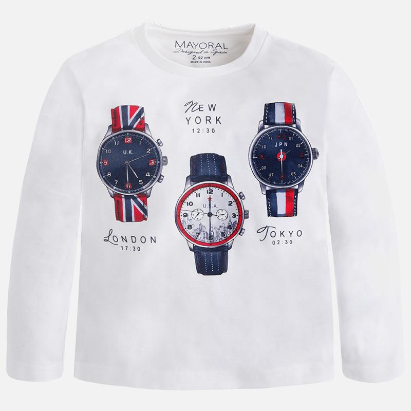 fb63281f5f9e3 Camiseta de manga larga para niño en punto liso perchado M.4005 Blanco  Mayoral