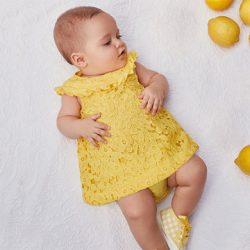 2811f0be0 Vestido dos piezas bebé niña de guipur M.1842 Amarillo Mayoral