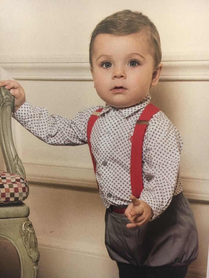 ef1a4827c Conjunto bebé Pantalón Gris y Camisa Blanca con Adorno Gris M.2123 Dolce  Petit