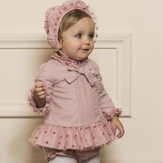 34a349c85 Vestido, braga y capota bebé niña M.2155 Dolce Petit | Ana Hidalgo ®